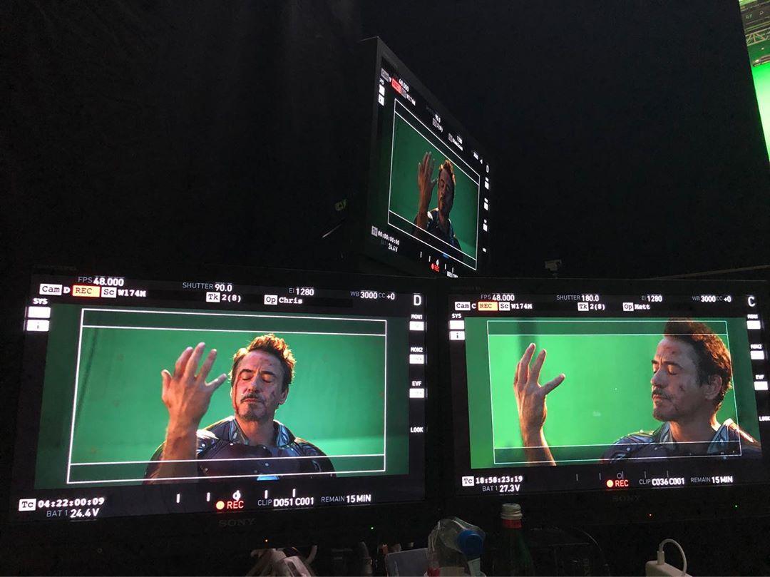 Quatrième photo du tournage du film Avengers: Endgame avec le snap de Robert Downey Jr. (Tony Stark / Iron Man)