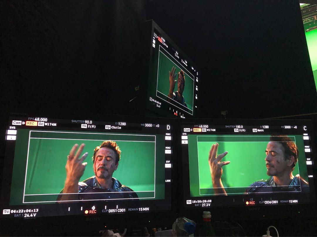 Cinquième photo du tournage du film Avengers: Endgame avec le snap de Robert Downey Jr. (Tony Stark / Iron Man)
