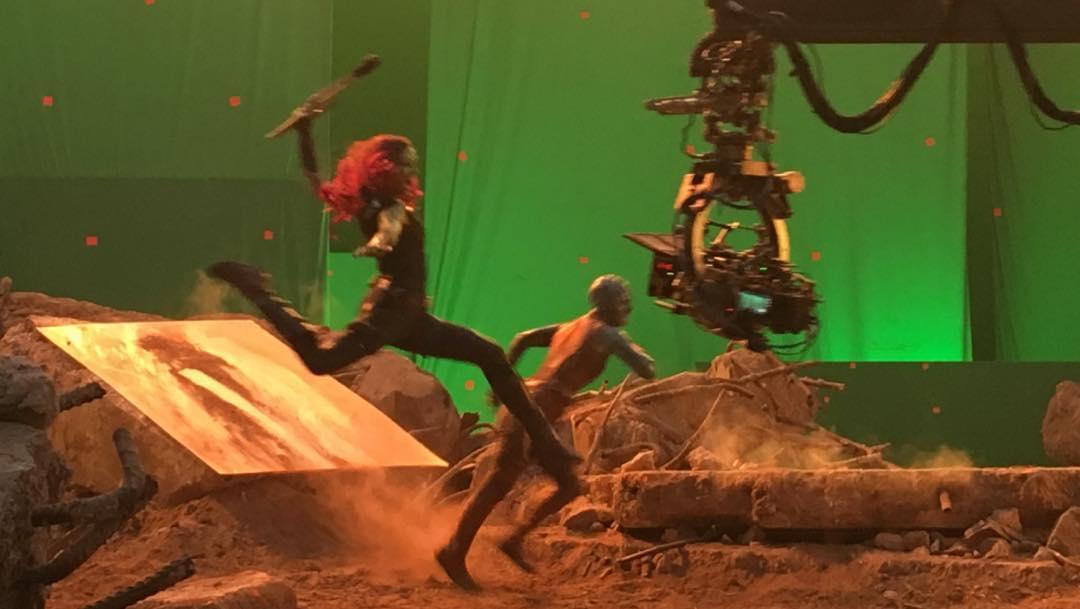 Photo du tournage du film Avengers: Endgame avec Gamora et Nebula