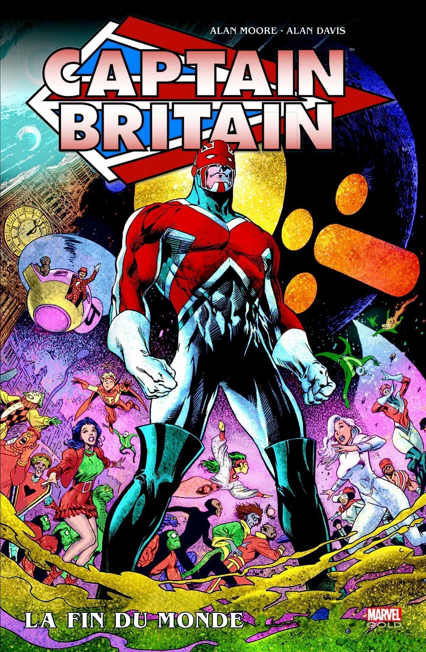 Couverture du comic Marvel, Captain Britain par Alan Davis et Alan Moore