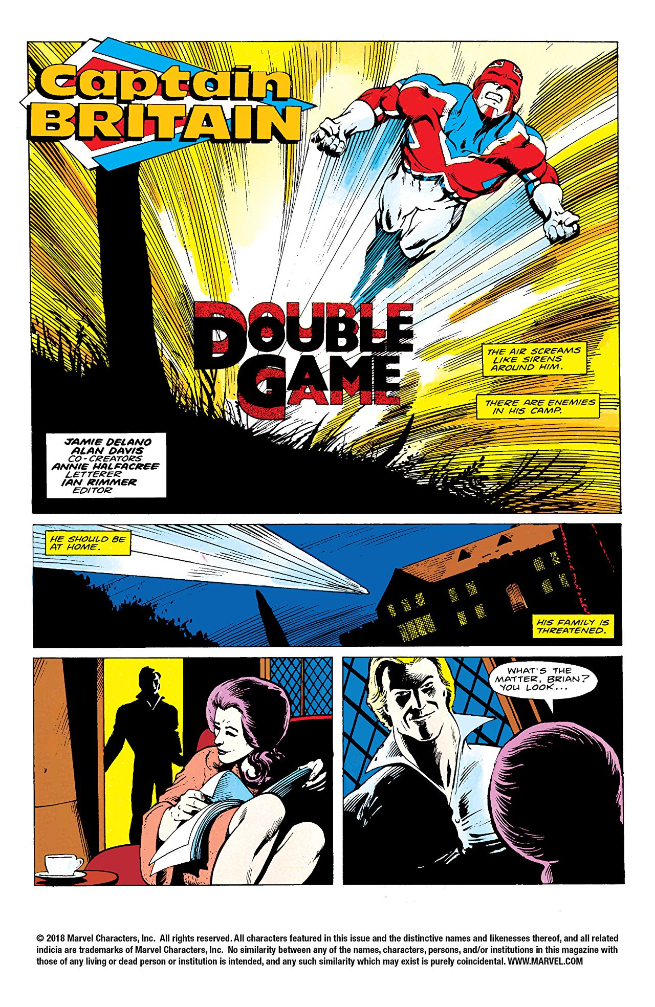 Page du run Double Game du comic Marvel, Captain Britain
