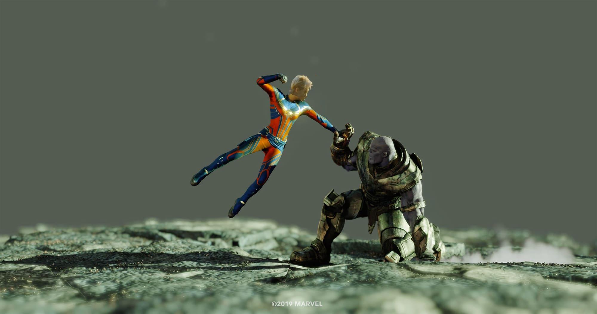 Photo du film Avengers: Endgame avec Captain Marvel contre Thanos (plan effets spéciaux 1)