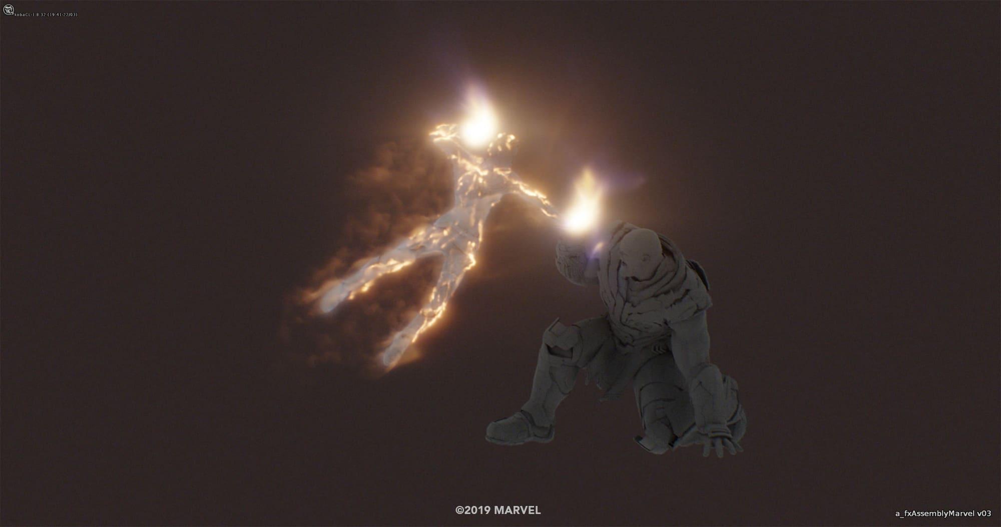 Photo du film Avengers: Endgame avec Captain Marvel contre Thanos (plan effets spéciaux 2)