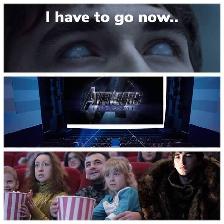 Mème de la série Game of Thrones avec Bran Stark parti voir Avengers: Endgame