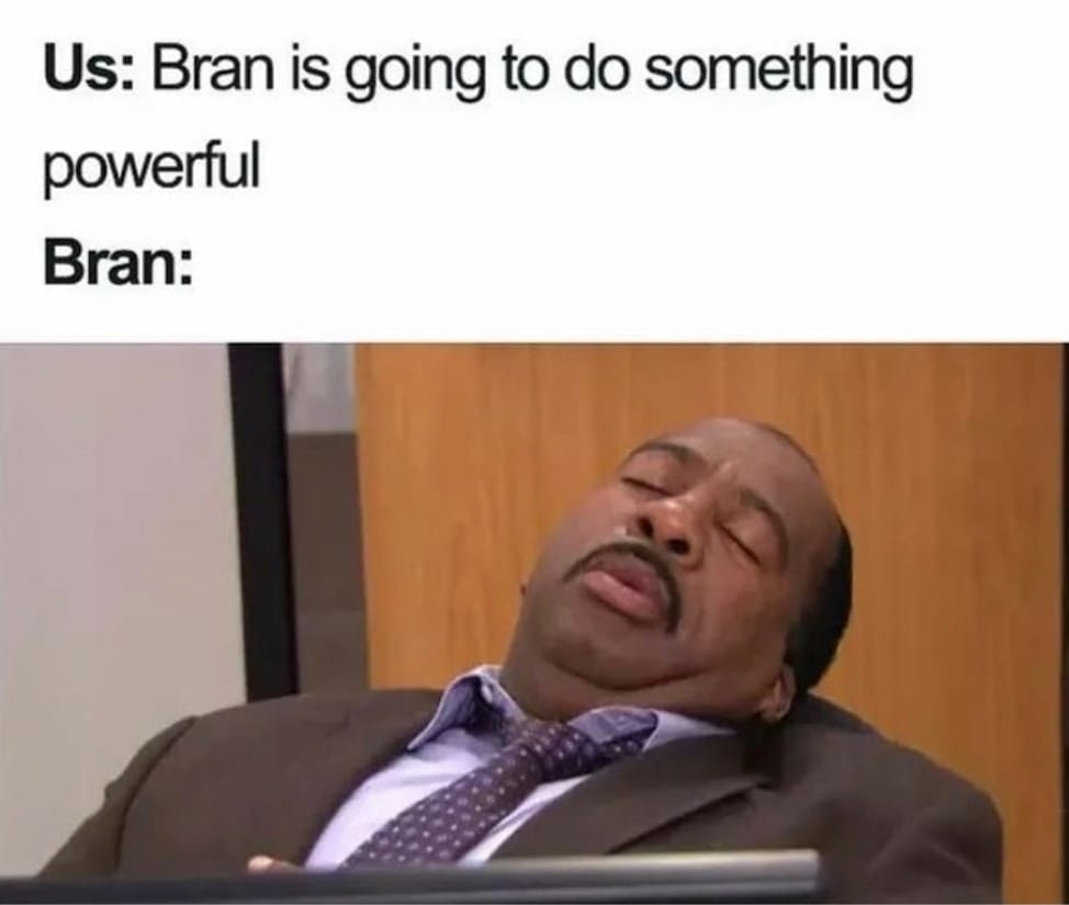Mème de la série Game of Thrones avec Bran Stark en mode The Office