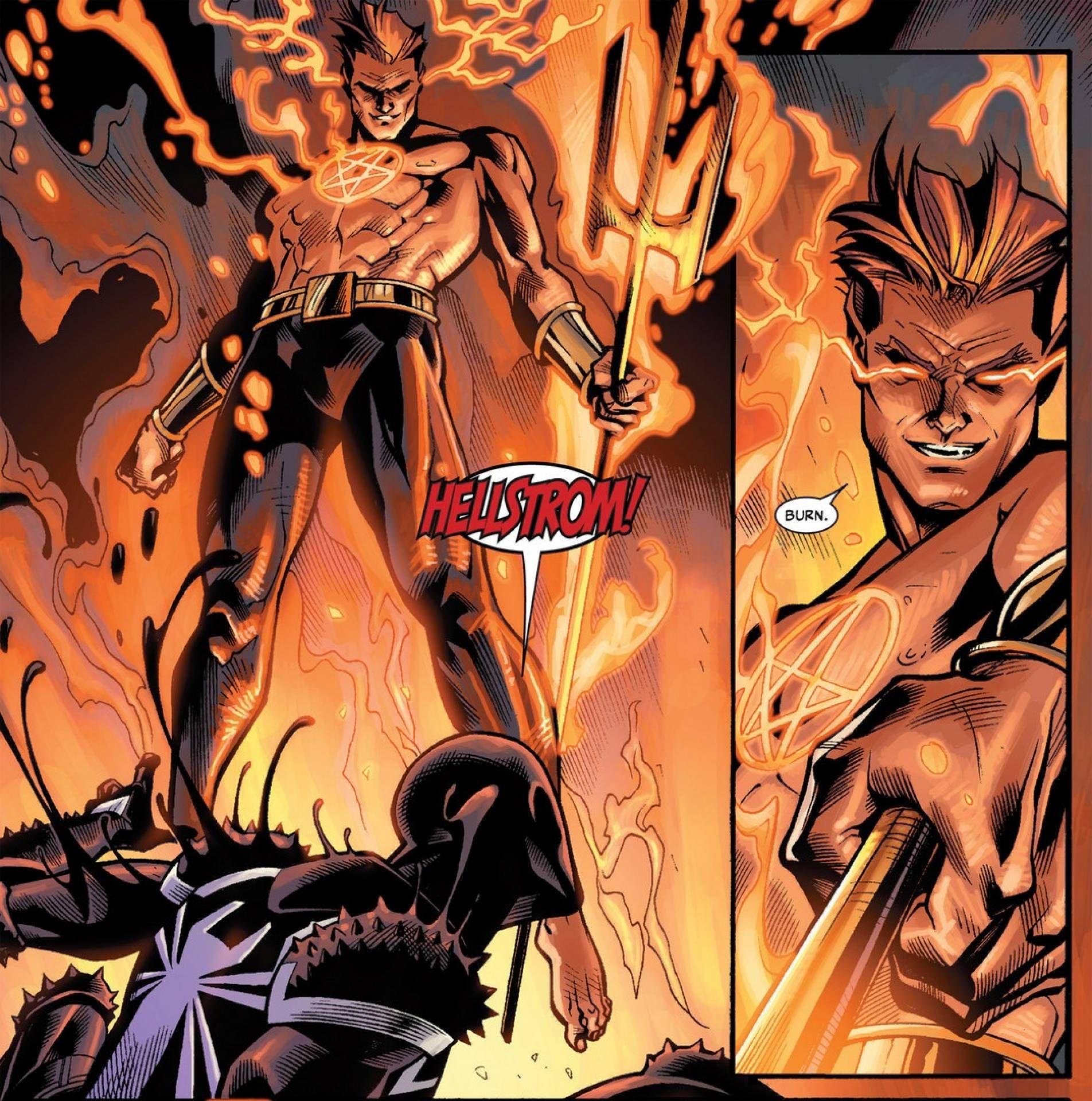 Image de Daimon Hellstrom face à Venom dans un comic Marvel