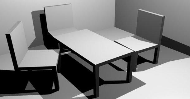 Table, chaises, murs et sol
